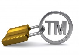 trademark sign protected with padlock on the white background (3d render)